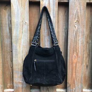 Tignanello black leather and suede shoulder bag